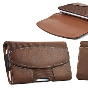 Brown Leather Belt Holster Phone Pouch with Pocket